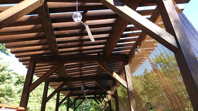 青森屋 足湯の天井から吊り下がる風鈴
