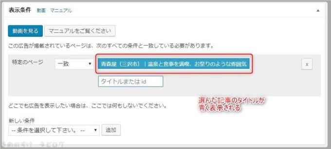 表示条件の特定ページを指定する