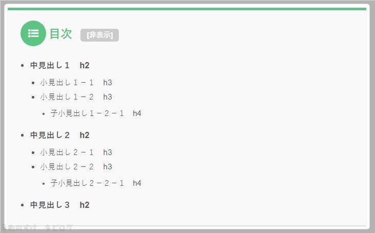 TOC+設定 見出しレベル設定h2-h4